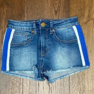 Girls jean short with blue and white strips
